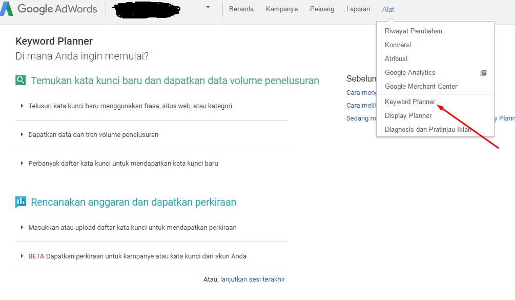 Cara riset Keyword google planner